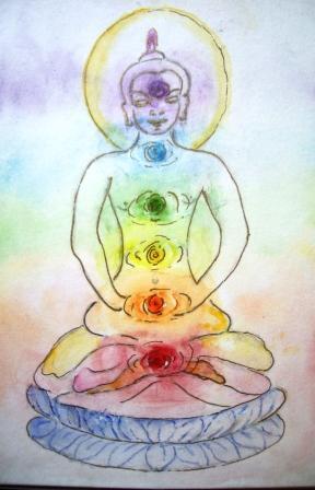 Boeddha met Chakra's door M.P.H.Keppel Hesselink van Blommestein