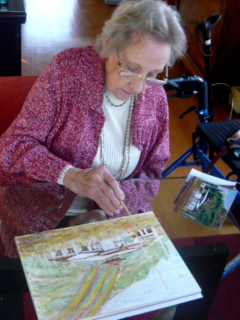 Paula keppel Hesselink finishing her masterwork at the age of 88, December 2008
