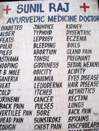 Sommige straatkklinieken van ayurvedische artsen pretenderen wel heel veel..., JMKH