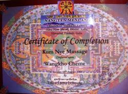 Kum Nye opleidingscertificaat